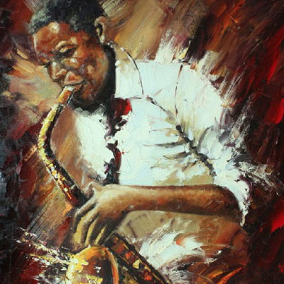Saxophone player using oil on canvas by Jacqueline Todd Artist